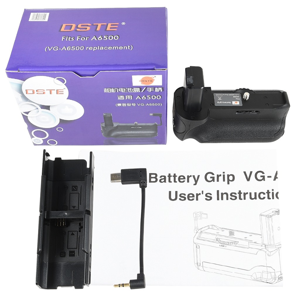 DSTE Pro battery grip fits for Sony A6500 camera.Equipped with wire control vertical shooting type vertical shutter button.