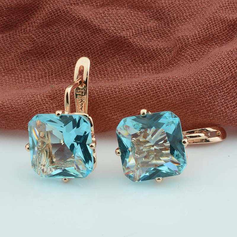 FJ Luxury Wedding Women Earring Rose Gold Color 585 Jewelry Fashion Big Square Pink/White/Green/Red/Blue Zircon Drop Earring