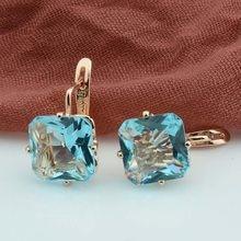 FJ – boucles d'oreilles de mariage de luxe pour femmes, couleur or Rose, grand carré en Zircon Rose/blanc/vert/rouge/bleu, à la mode, 585