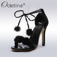 Odetina 2018 Fashion Sexy Stilettos High Heel Ankle Strap Sandals Fur Women's Club Party Shoes Lace Up Summer Shoes Big Size 48