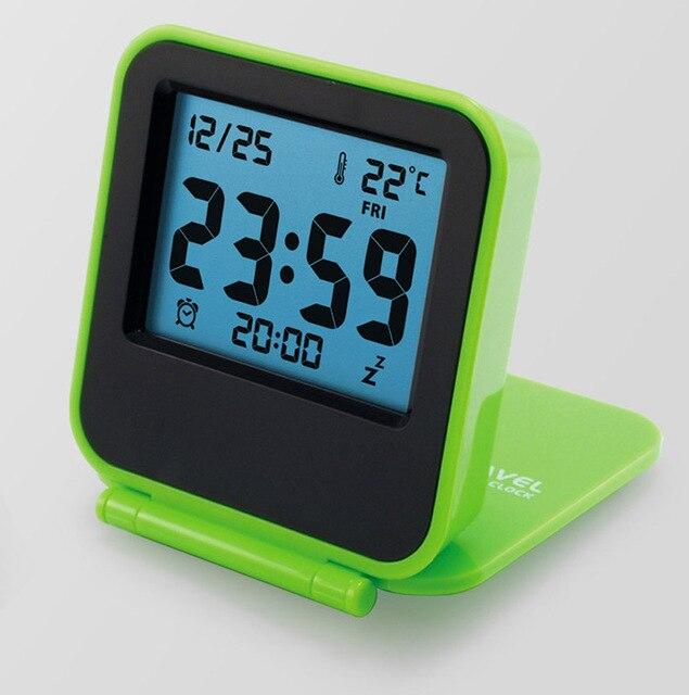 38e3b08c365 Portátil silencioso relógio despertador mini relógio de viagem relógio  eletrônico levou relógio luminoso dos desenhos animados
