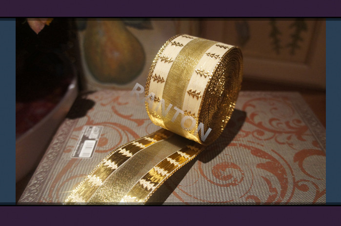 Ranton 3.8cm x 200cm Christmas Decoration Supply, High Quality Golden Ribbon with Wire Rim DIY handmade materials