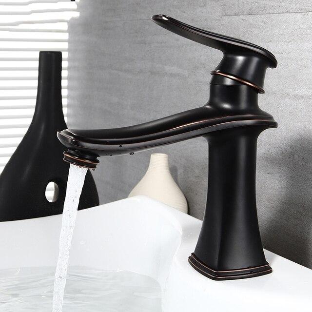 Oil Rubbed Bronze Modern Lead Free Brass Bathroom Sink Faucet Single ...