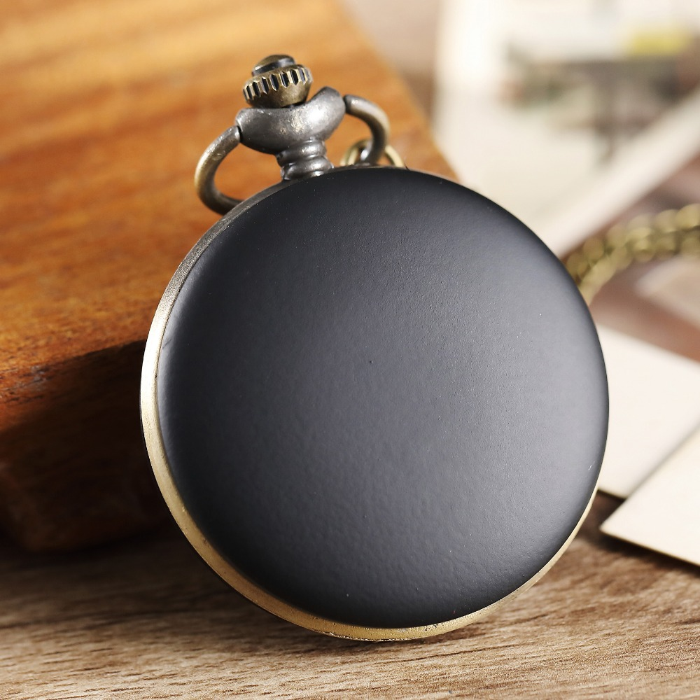 Fashion Black Matte Surface Quartz Pocket Watch Exquisite Elegant Retro Watch For Men Women Pocket Watch With Necklace