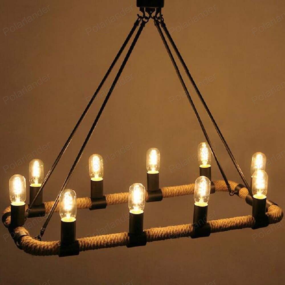 10 Heads Rectangular Living Room Dining Hemp Rope Chandelier Retro Restaurant Hanging Light
