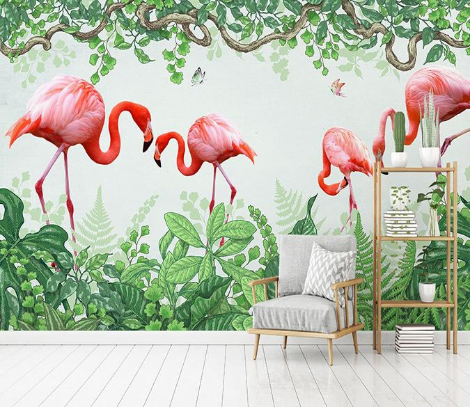 [Self-Adhesive] 3D Flamingo Green Forest 66 Wall Paper Mural Wall Print Decal Wall Murals