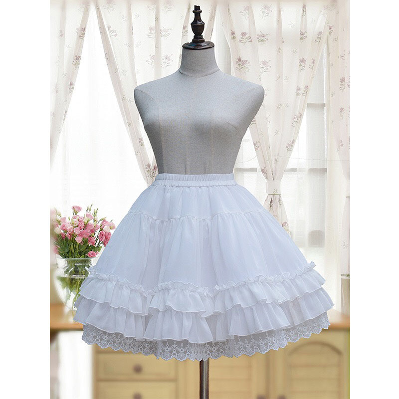 Adult Women Black & White Lolita Short Lace Petticoat 3 Layer Hoopless A-Line Organza Lace Underskirt For Girls Crinoline Skirt
