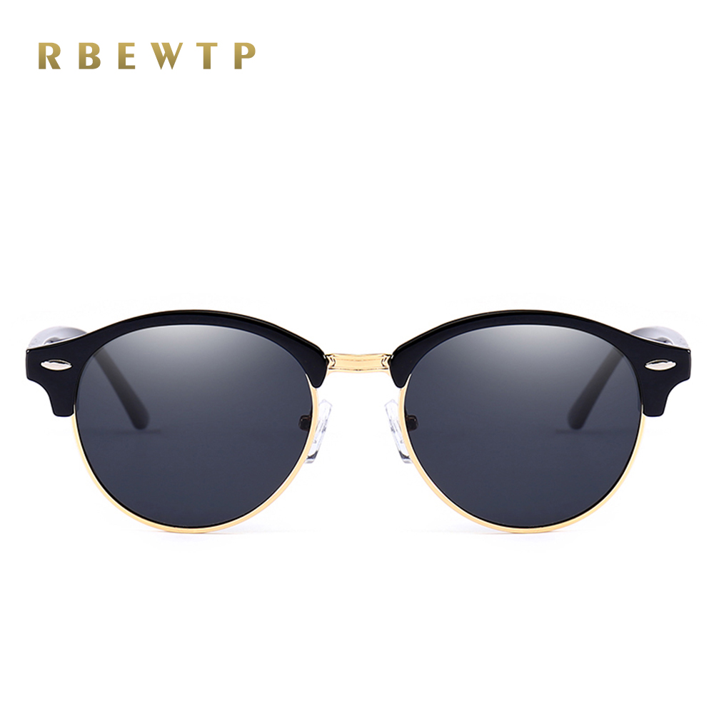 RBEWTP Brand Round Polarized Mens Sunglasses Brand Designer Unisex Retro Vintage Driving mirror Sun Glasses for Women shades 246