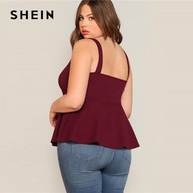 SHEIN Plus Size V-Cut Neck Peplum Top Women 2019 Summer Burgundy Elegant Ruffle Hem Vest camisole Sexy Solid Camis Tops 2