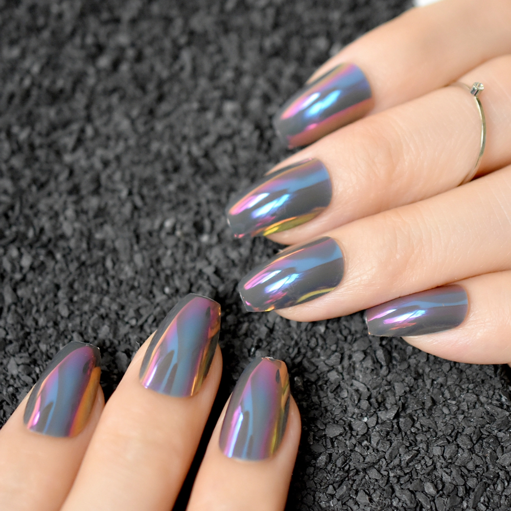 Coffin Design Fake Nails Purple Symphony Medium Flat Stiletto ...