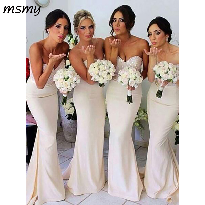 New Simple Mermaid Sweetheart   Bridesmaid     Dresses   Sleeveless Cheap Long   Bridesmaid     Dresses   Custom Made