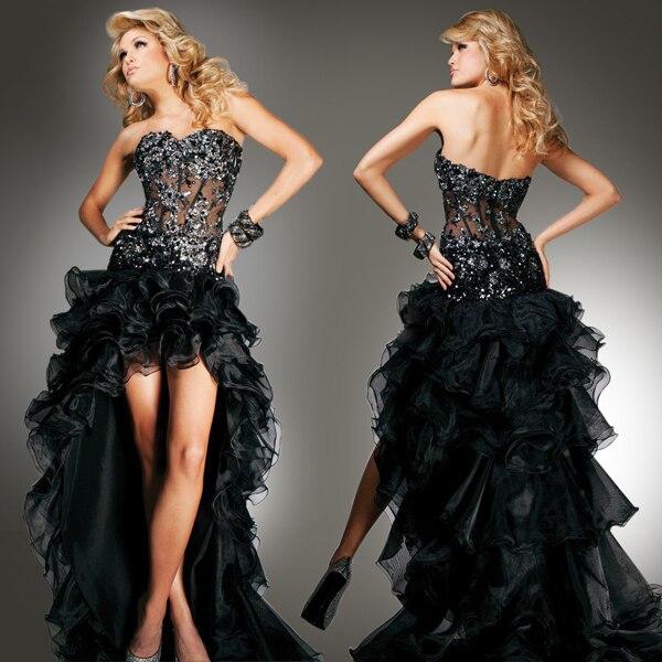 2018 new style custom ruffles black long women casual free shipping vestido de festa party sexy organza   bridesmaid     dresses