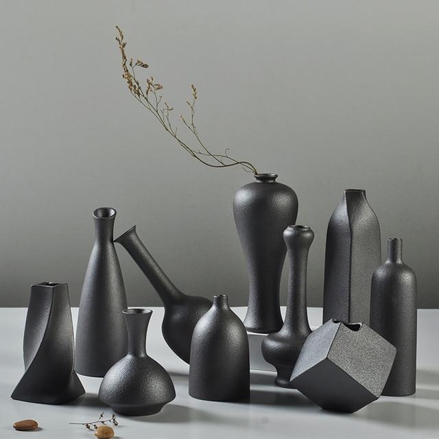 Fresh Mini Ceramic Small Vase Home Decor Gift Ideas And: Modern Ceramic Vase Creative Black Tabletop Vases