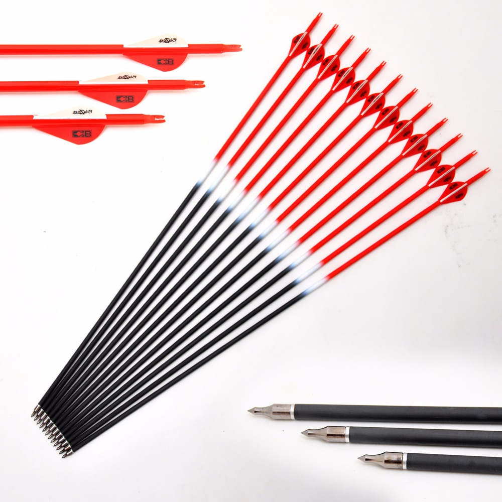 12 pcs Spine 340 Carbon Arrow With Vanes 31 inch Length Colorful Archery Arrows For 40