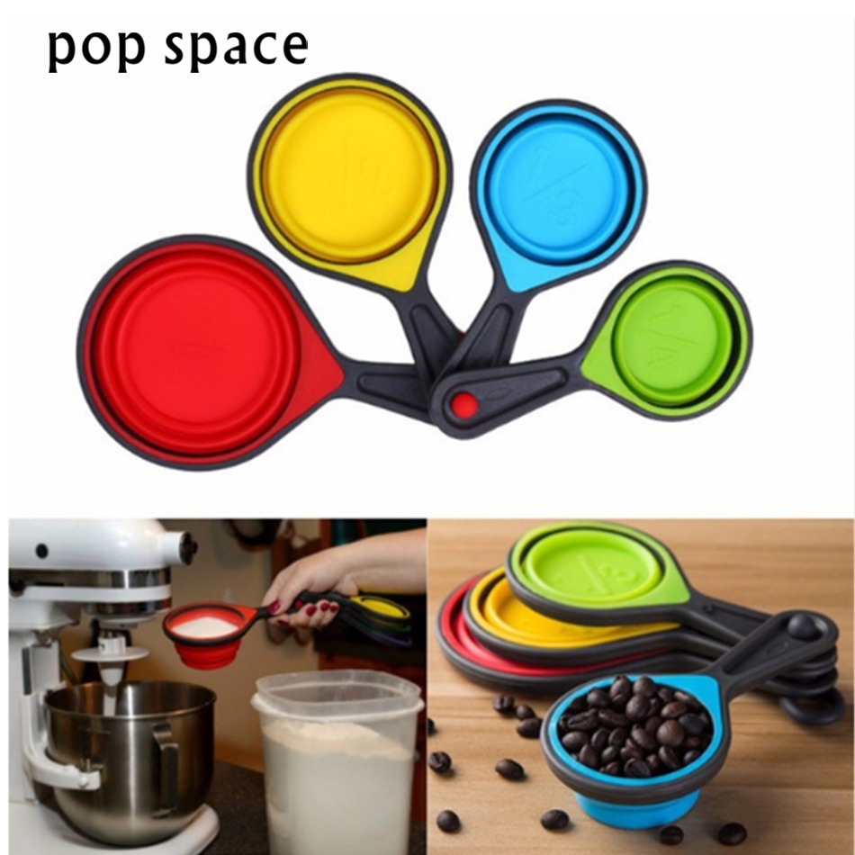 pop space 4pcs/Set Measuring Cup New Food Grade Silicone Set Spoon Kitchen Tool Ice Cream Collapsible Baking Cook Tools