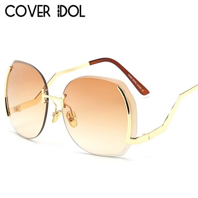 e179ad8d5e62 Fashion Designer Women Sunglasses Stylish Luxury Round Rimless Sun Glasses  Elegant Women Sunglass UV400
