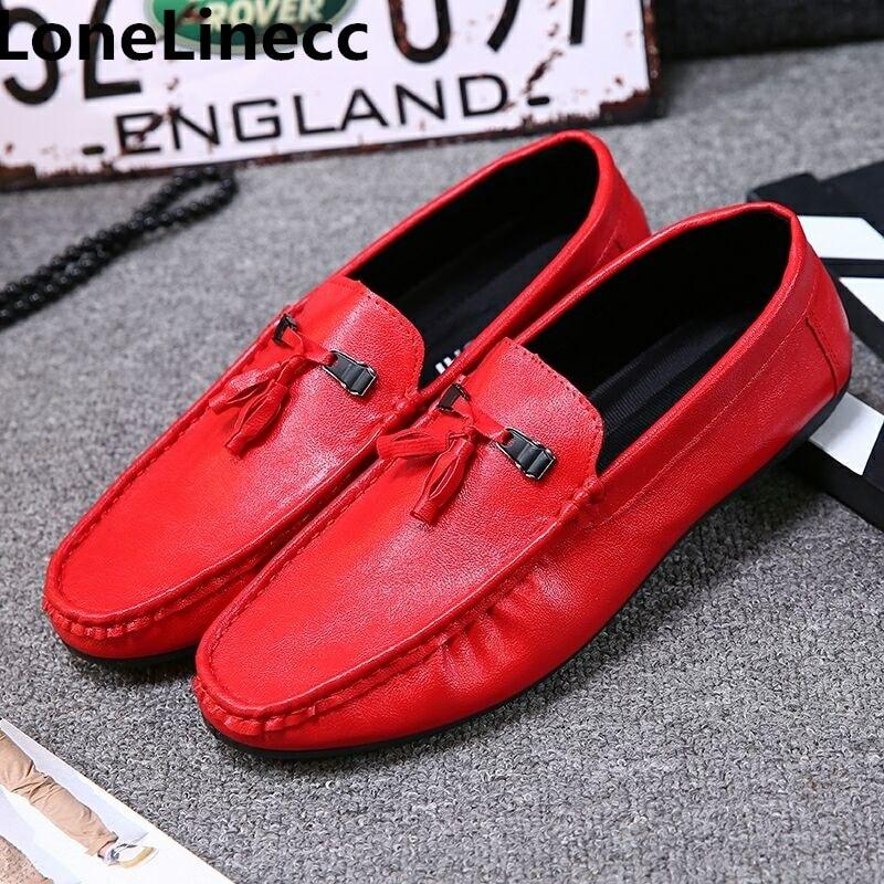 59ba57b77ad Mano Zapatos Vestir white Vestido Hecho Los Mocasines Genuino De Italiana  red Boda Hombre Hombres Cuero ...