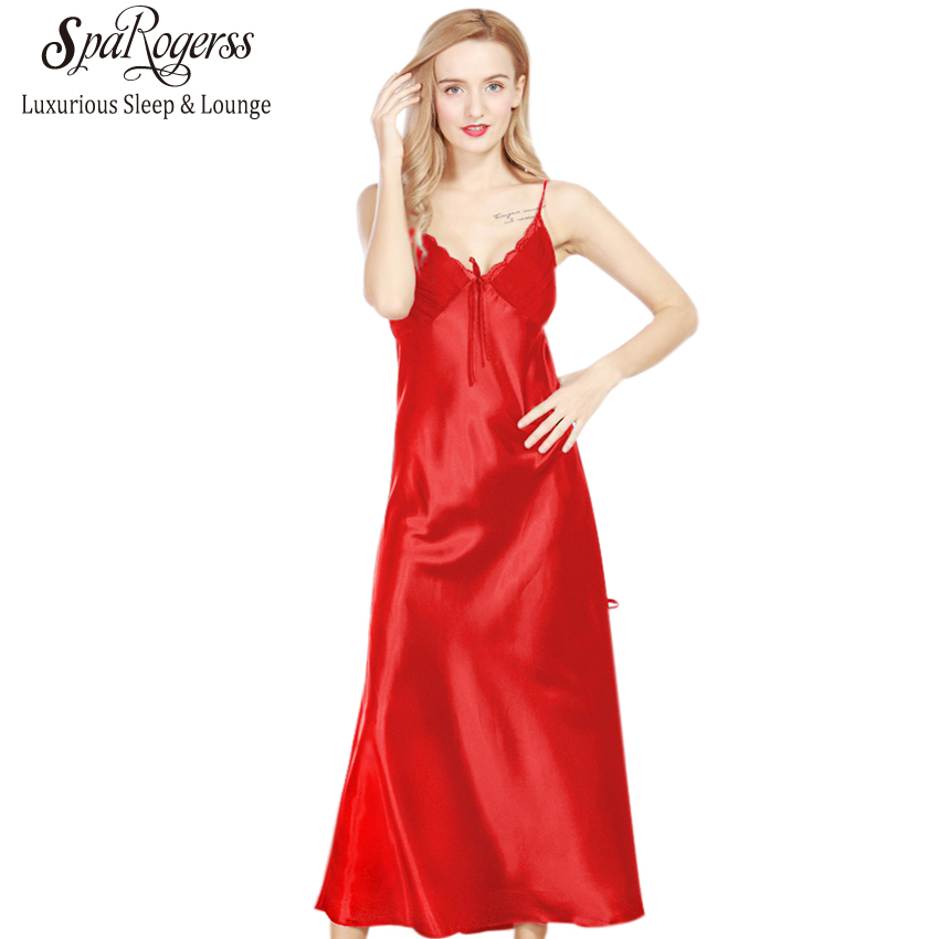 Hot Sale Long Nightgowns Women 2018 Brand SpaRogerss Ladies Faux ...