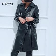 17cb79ac50937 2018 Donne Nero Genuine Leather Trench Lungo Vintage Plus Size Coreano  Cintura di pelle di Pecora Cappotto Office Lady Casual Au.