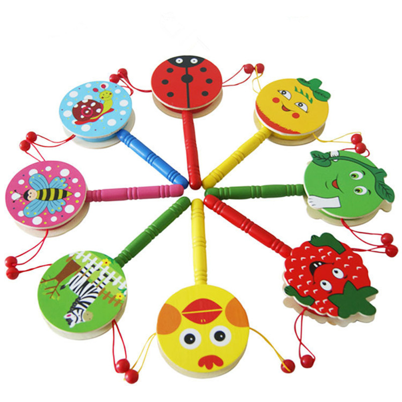 2019 Fashion Baby Boys Girls Drum Toy Wooden Rattle Pellet Drum Cartoon Animal Musical Instrument Toy For Child Kids Gift
