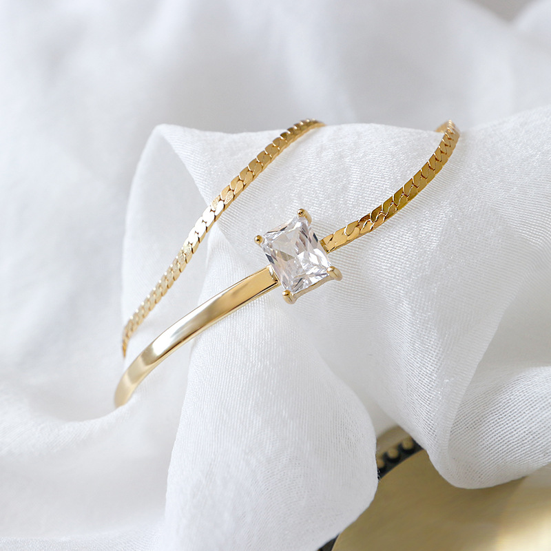 Flyleaf Gold Double Chain 4a Zircon Charm Bracelets For Women 2018 New Trend 100% 925 Sterling Silver Lady Fashion Jewelry