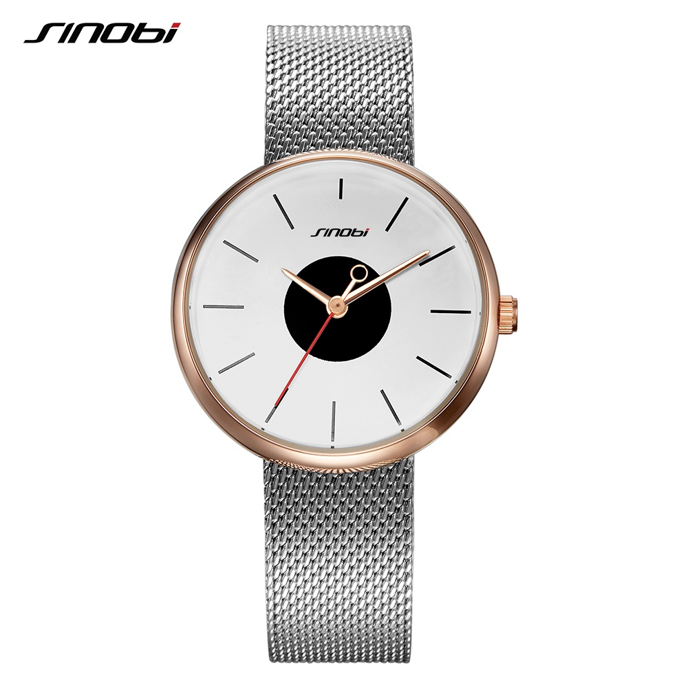 SINOBI Brand Top Luxury Ultrathin Women Watches Casual Sliver Quartz Wristwatches Creative Mesh Strap Watch Montre Femme Relojes