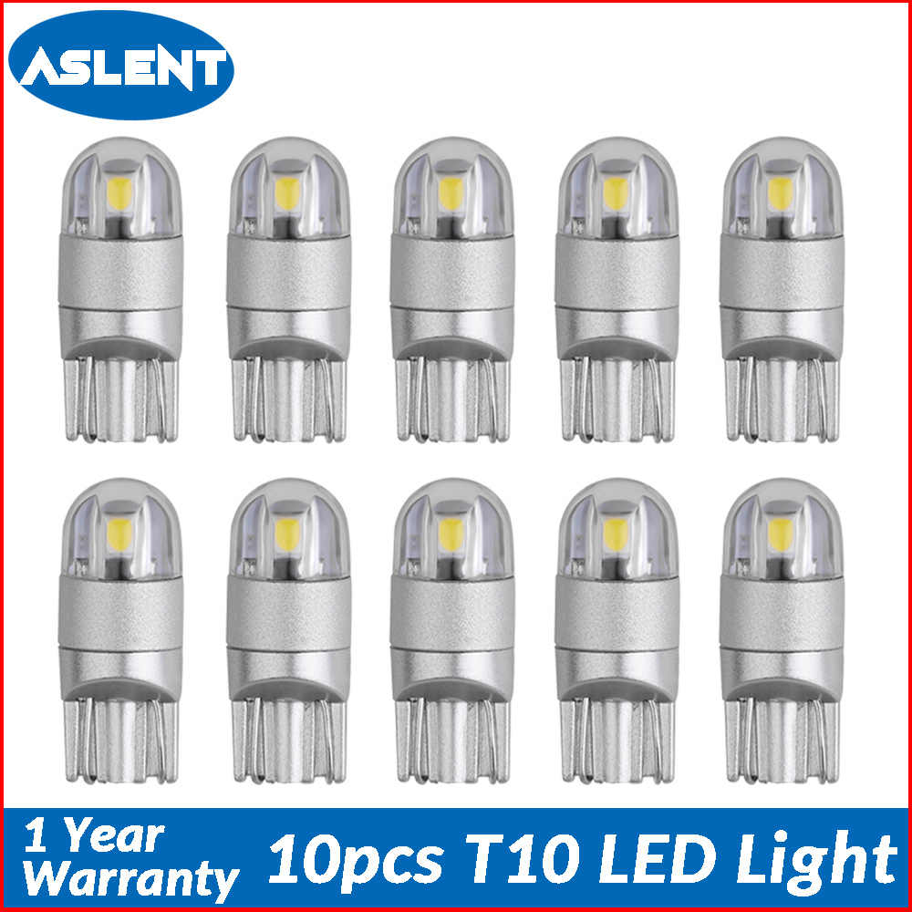 Aslent 10pcs T10 W5W 194 LED Car Light Bulbs for Auto Lamp Clearance Break Turn Reading License Plate Light Ice blue white red