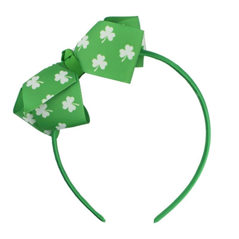New Boutique Shamrock Clover Hairband Print Bows Green Satin Coverd St. Patrick's Day Headwear For Kids Girls Hair Accessories
