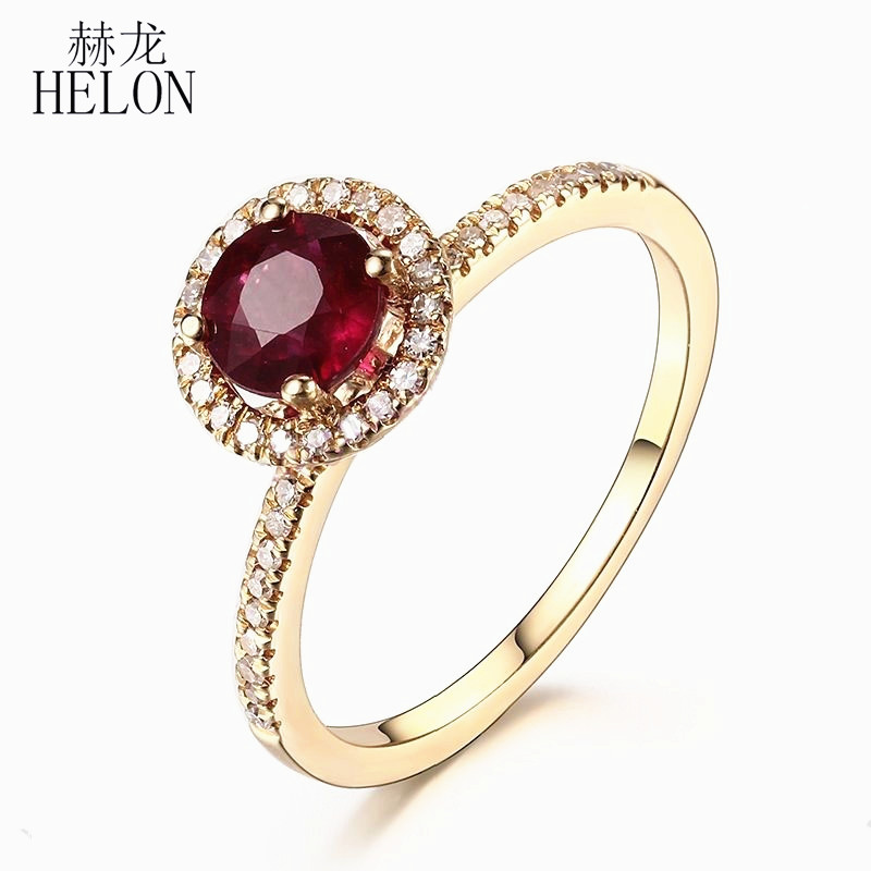 HELON Solid 10K Yellow Gold Pave Natural Diamond 5MM Round Treated Ruby Ring Setting Engagement Wedding Gemstone Diamonds Ring helon cubic zirconia cz solid 10k yellow gold pave prongs setting wedding ring engagement rings for women