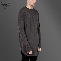 Aelfric Eden Men Base Loong Sleeve T Shirt Autumn Male Round Neck Solid Cotton T Shirt