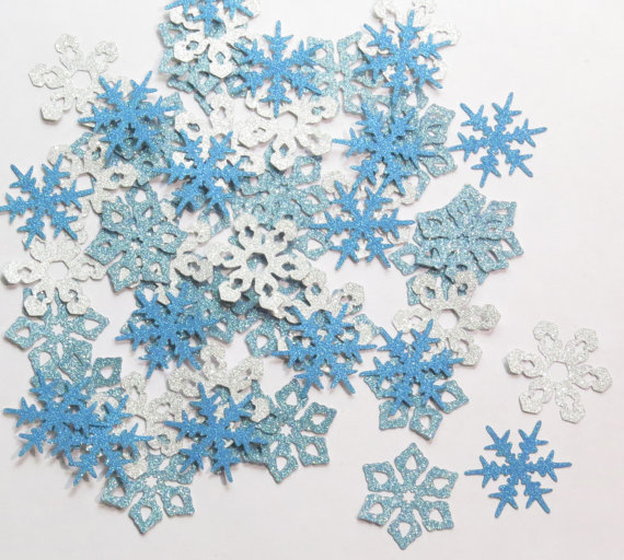 Us 14 38 10 Off Blue And Silver Glitter Snowflake Christmas Holiday Party Winter Decorations Die Cuts Gift Table Decor Scrapbook Confettis In