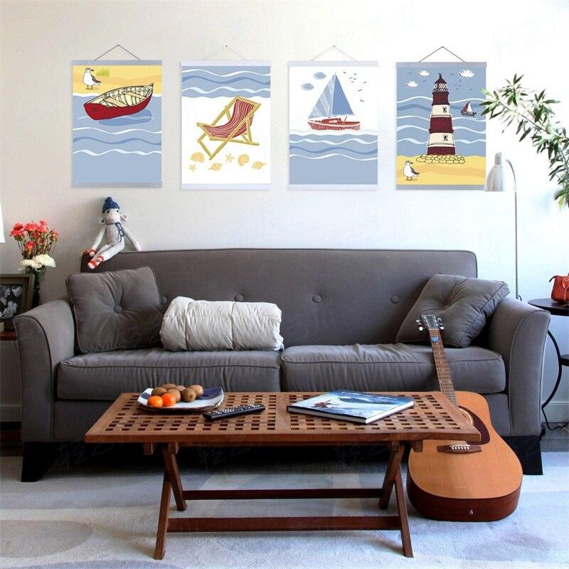 été Plage Océan Phare Marin Murale Moderne Grande Toile Art