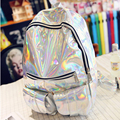 Mochila Masculina Backpack Women Silver Hologram Laser Backpack Men's Bag Leather Holographic Backpack Multicolor