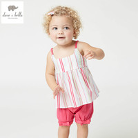 DB4382 dave bella summer baby girls color striped clothing sets kids lovely sets toddle cloth kids sets baby fancy clothes