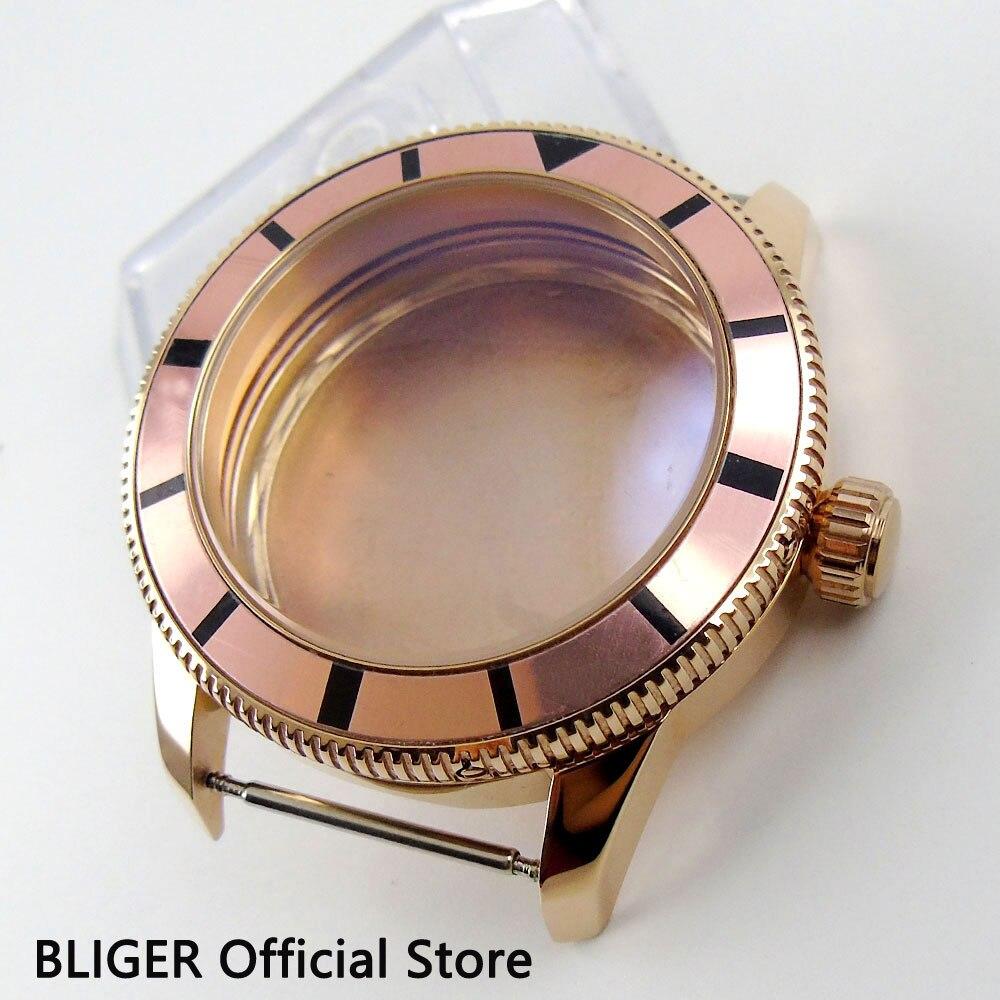 лучшая цена 46MM 316L Stainless Steel Champagne Bezel Rose Golden Case Fit ETA 2824 2836 MIYOTA 8215 Automatic Movement C87