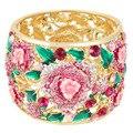 BELLA 2015 Primavera Rosa Flor Rosa de Casamento de Cristal Austríaco Nupcial Banhado A Ouro Pulseiras & Pulseiras Para As Mulheres de Noiva Da Dama de Honra &