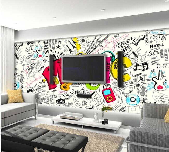 Custom kids wallpaper music graffiti murals for the