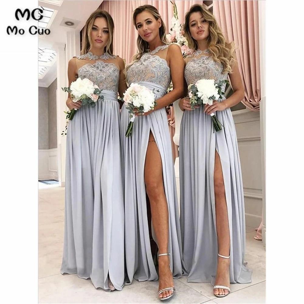 Elegant Sheer Lace Bridesmaid Dresses Long Wedding Party Dress Front Slit  Chiffon Floor Length Bridesmaid Dress for Women