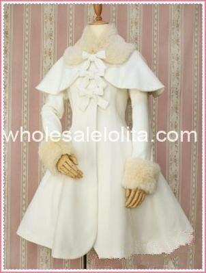 Горячая молочно-белая шерсть с капюшоном сладкий Лолита пальто