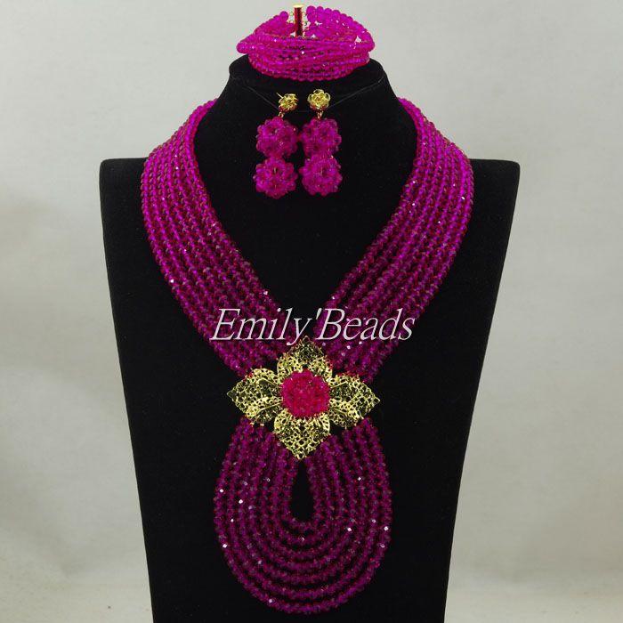ab023700a79d Africana rosada fucsia Cuentas joyería conjunto traje nigeriano Juegos de  joyería para novia 7 capas envío libre alj348