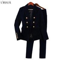 LXUNYI 2018 New Autumn Velvet Pants Suit 2 Pieces Woman Sets Clothes Double Breasted Formal Female Suit Pants Set Office Wear