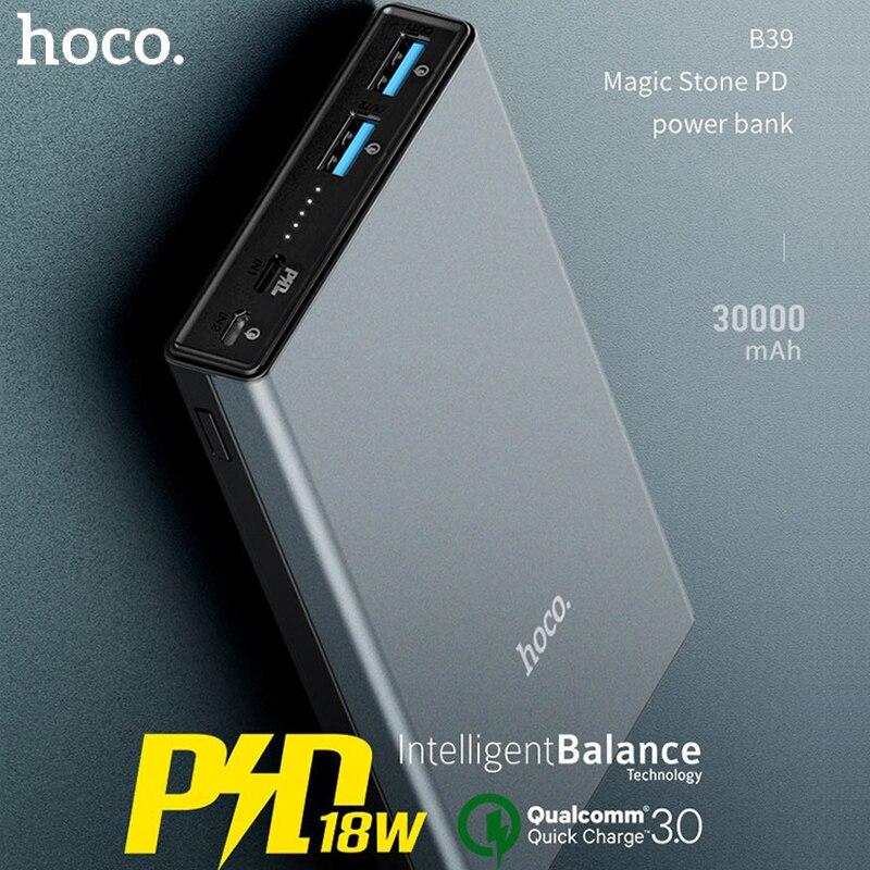 HOCO 30000 mAh batterie externe 18W PD USB type C Charge rapide 3.0 Powerbank 30000 mAh 3.0 FCP chargeur de batterie externe pour Xiaomi