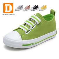 New 5 Colors Canvas Children Shoes Solid Elastic Band Kids Sneakers 2017 Casual Rubber Board Green