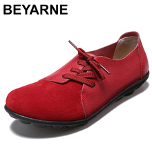 BEYARNE Women Flat Shoes Plus Size35 434 Genuine Leather Shoes Women 2019 Solid Black/white Flats Leisure Female ShoesE020