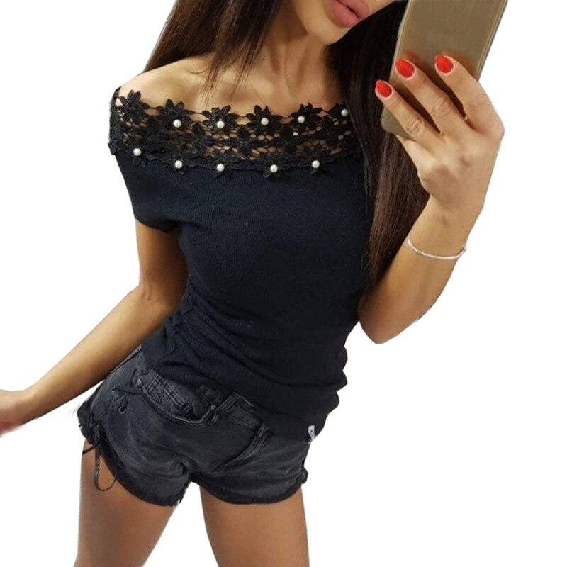 Lace Off Shoulder Top T Shirts Sexy T-shirts Slash Neck Short Sleeve Summer Fashion Ladies Tee Tops Shirts WS8140F
