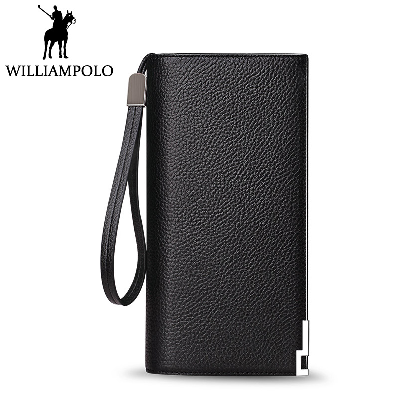 WILLIAMPOLO 2018 Clutches Wallet Men Genuine Leather Elegant Business Male Purse Fashion Card Holder Wallets Black Hand Strap
