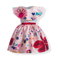 Kids Girls Cute Patten Dress Baby Girls Ball Gown Birthday Party Princess Wedding Dress Girl Dress 3-9Y Kids Clothes