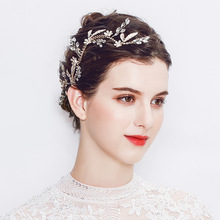 Hot style luxury rhinestones hand-made bridal hair band enamel clover design bridal headdress