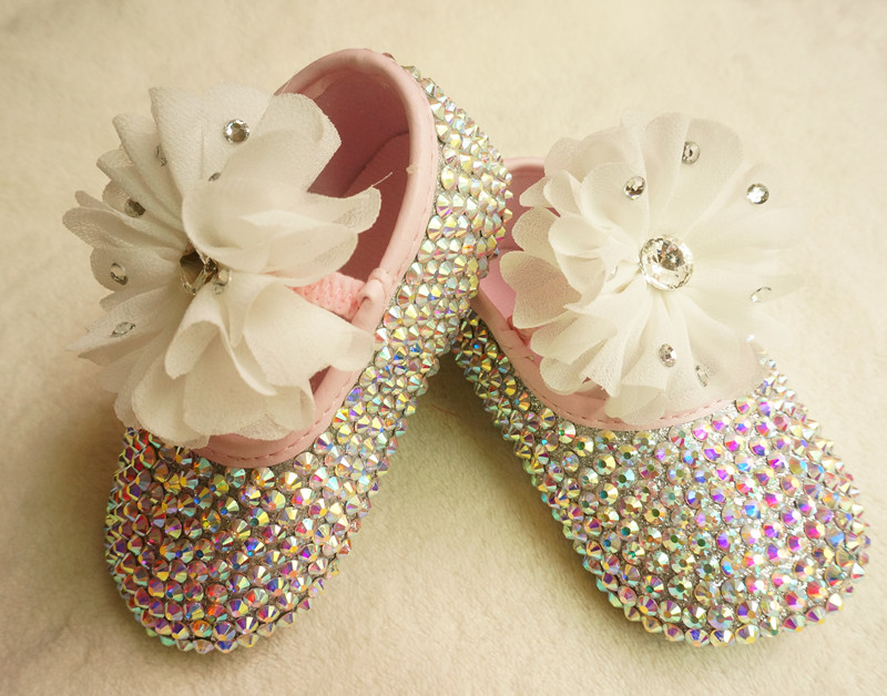 MIYOCAR Personalized bling beautiful rhinestone crystal Baby Girl princess shoes Bling Diamond first Walker lace flower