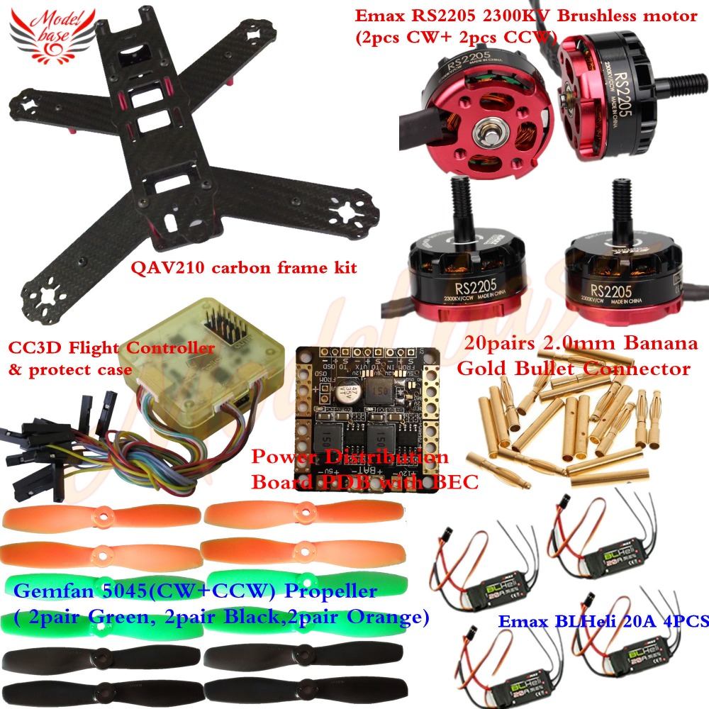 QAV210 Carbon Frame kit RS2205 2300KV Motor BLHeli 20A ESC CC3D Power Distribution with BEC Gemfan